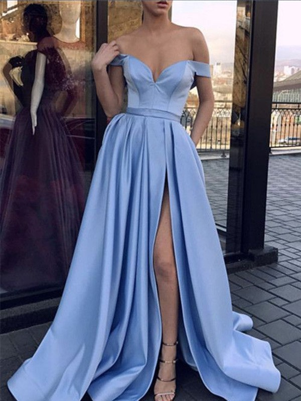 A-Line Sleeveless Off-the-Shoulder Sweep/Brush Train Ruffles Satin Dresses