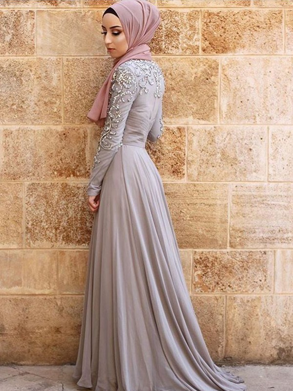 A-Line Long Sleeves Scoop Sweep/Brush Train Crystal Tulle Muslim Dresses