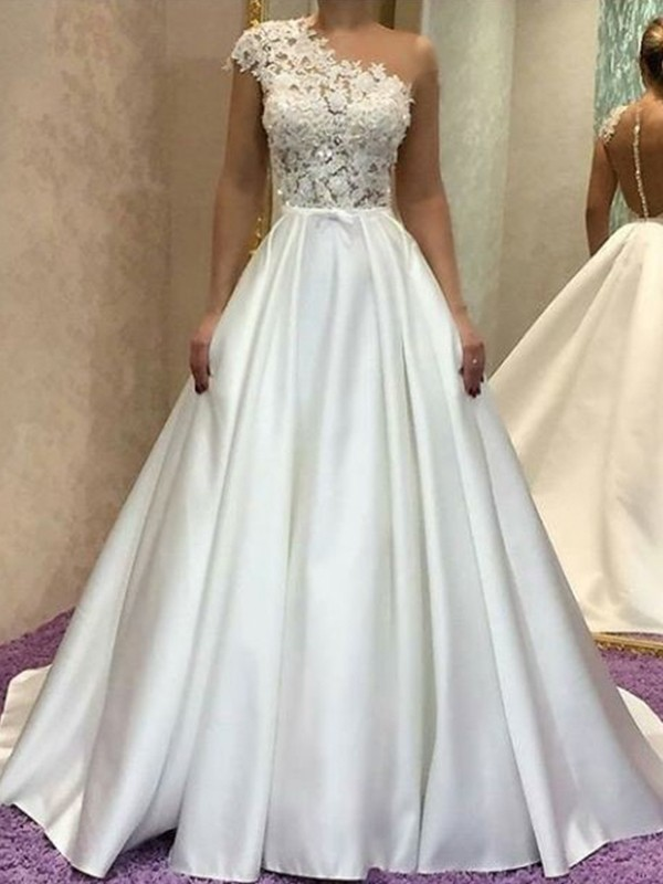 A-Line One-Shoulder Sleeveless Sweep/Brush Train Lace Satin Wedding Dresses