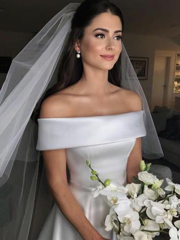 A-Line Off-the-Shoulder Sleeveless Sweep/Brush Train Ruffles Satin Wedding Dresses