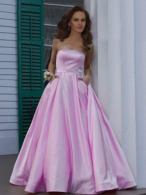 A-Line Strapless Sleeveless Floor-Length Ruffles Satin Dresses
