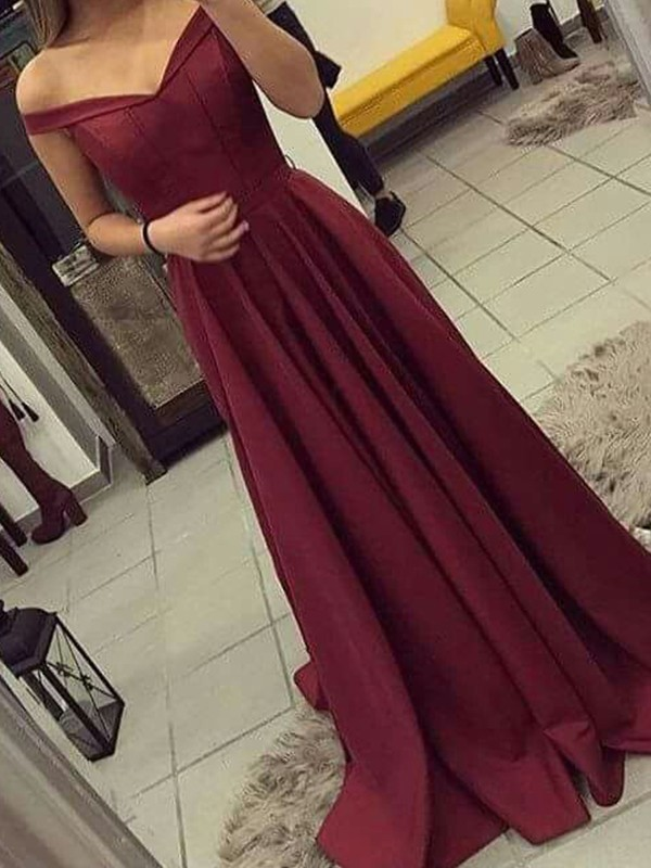 A-Line Off-the-Shoulder Sleeveless Sweep/Brush Train Ruched Satin Dresses
