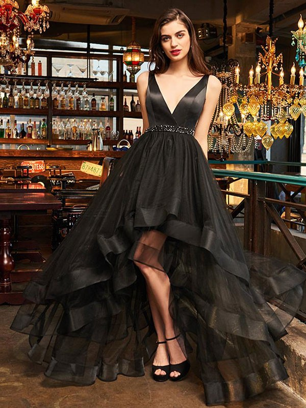 A-Line Sleeveless V-neck Asymmetrical Ruffles Organza Dresses