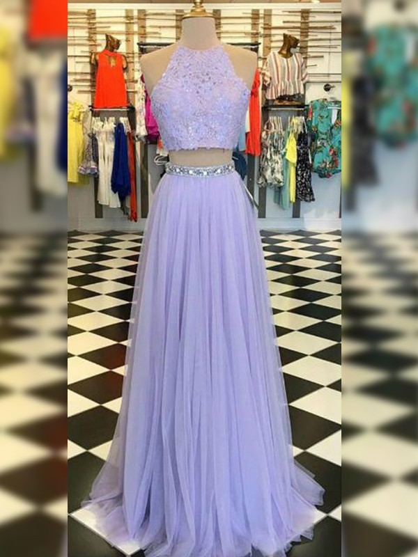 A-Line Tulle Lace Halter Sleeveless Floor-Length Two Piece Dresses