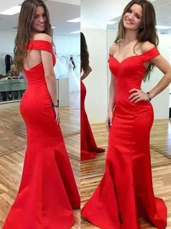 Mermaid Sleeveless Off-the-Shoulder Floor-Length Satin Dresses