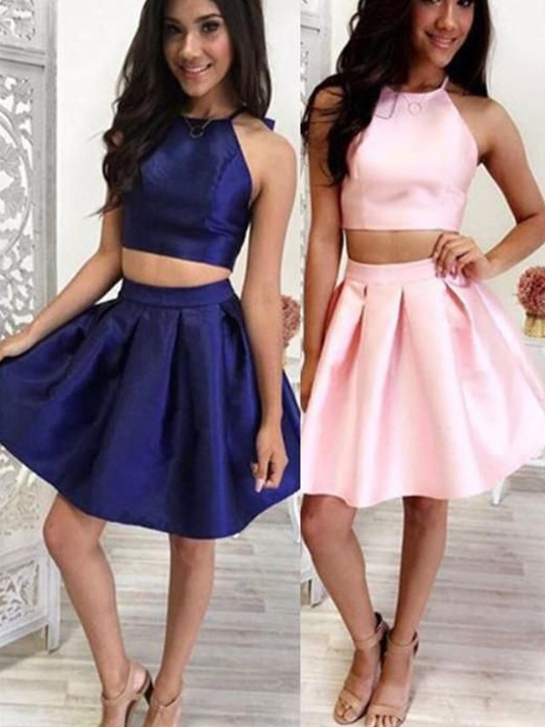 A-Line/Princess Satin Ruffles Halter Short/Mini Two Piece Dresses