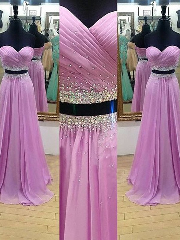 A-Line/Princess Sweetheart Sleeveless Floor-Length Beading Chiffon Two Piece Dresses