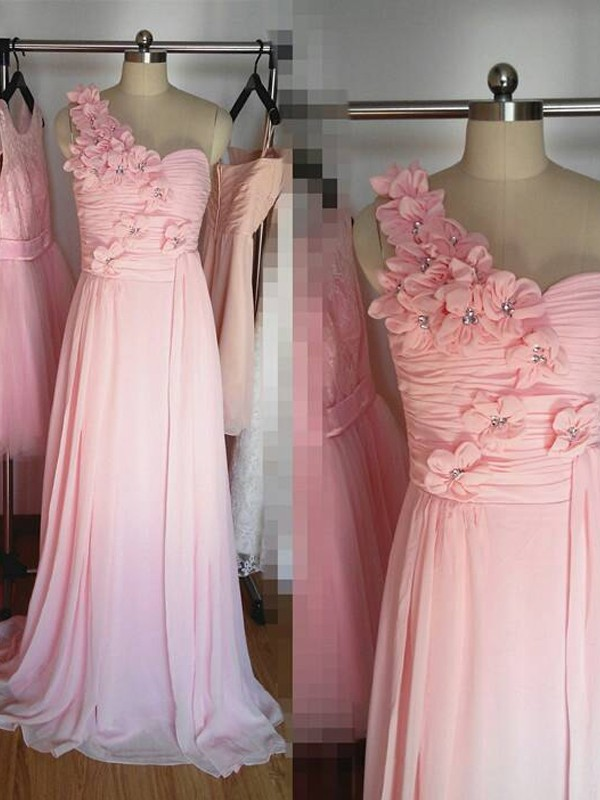 A-Line/Princess One-Shoulder Sleeveless Floor-Length Hand-Made Flower Chiffon Bridesmaid Dresses