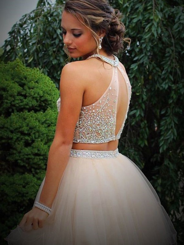 A-Line/Princess Scoop Beading Sleeveless Short/Mini Tulle Two Piece Dresses