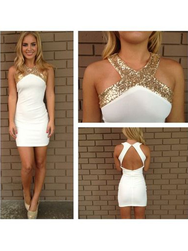A-Line/Princess Sleeveless Halter Beading Satin Short/Mini Dresses