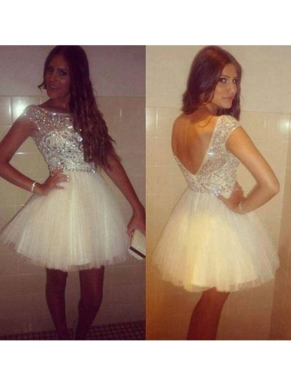 A-Line/Princess Sleeveless Scoop Beading Tulle Short/Mini Dresses