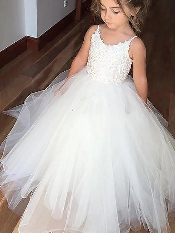Ball Gown Jewel Sleeveless Lace Floor-Length Tulle Flower Girl Dresses