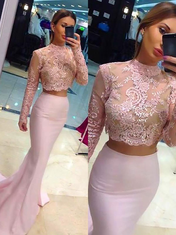 Sheath Long Sleeves Lace Sweep/Brush Train High Neck Satin Two Piece Dresses