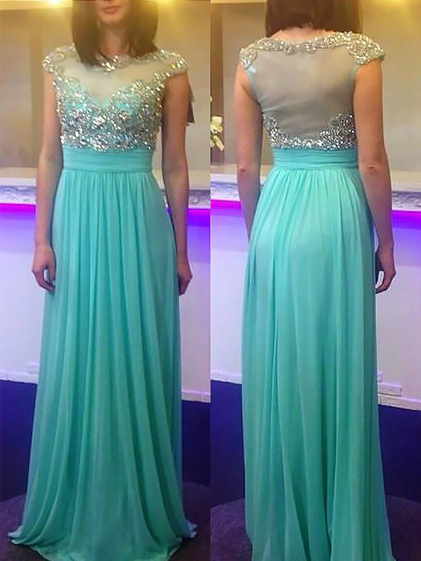 A-Line Bateau Sleeveless Floor-Length Beading Chiffon Dresses