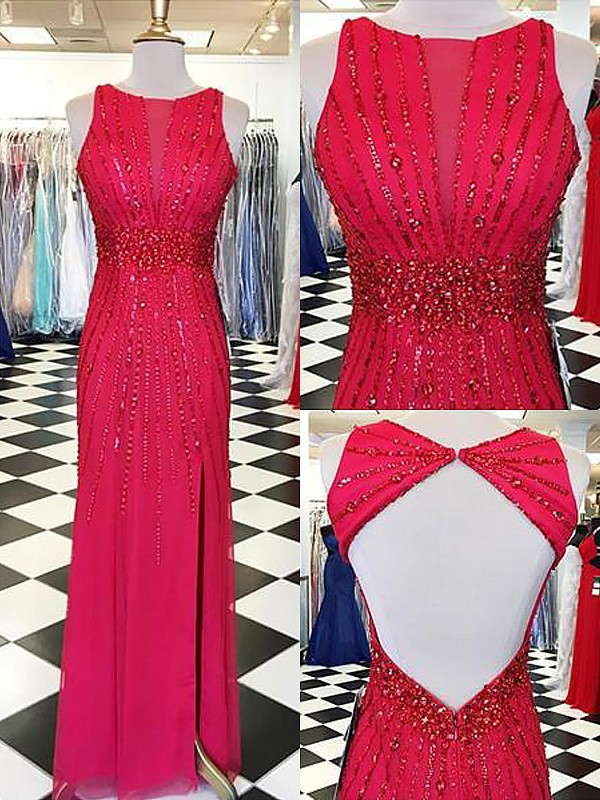 Sheath Bateau Sleeveless Beading Floor-Length Chiffon Dresses
