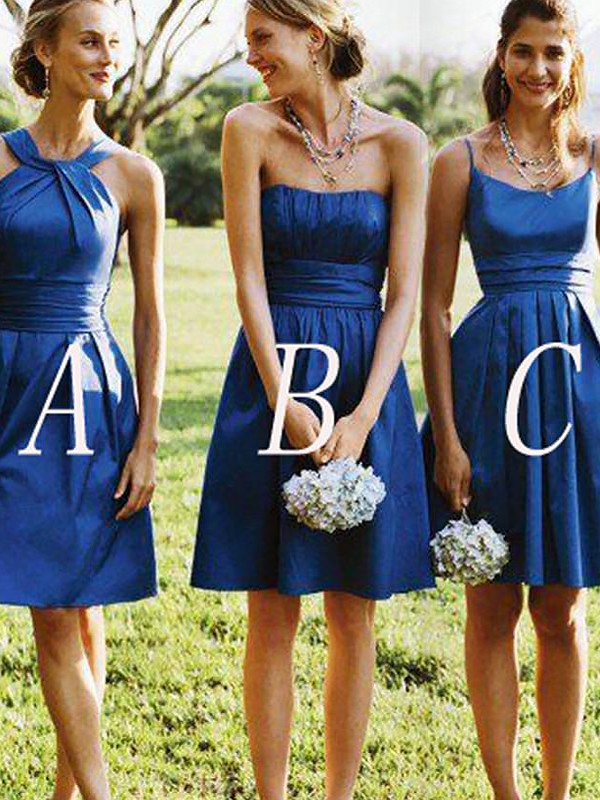 A-Line Sleeveless Satin Short/Mini Bridesmaid Dresses