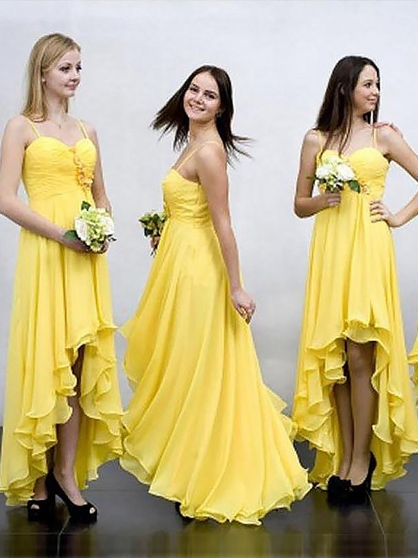 A-Line Sleeveless Asymmetrical Spaghetti Straps Chiffon Bridesmaid Dresses