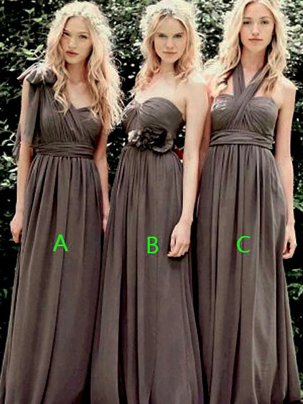 A-Line Sleeveless Chiffon Floor-Length Bridesmaid Dresses