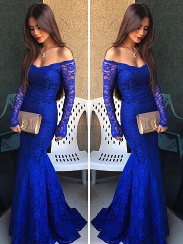 Trumpet/Mermaid Off-the-Shoulder Long Sleeves Lace Sweep/Brush Train Dresses