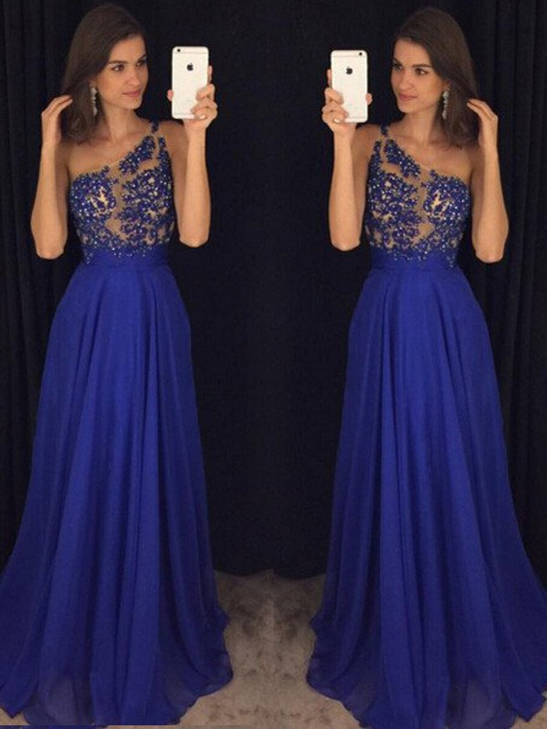 A-Line/Princess Sleeveless One-Shoulder Floor-Length Beading Chiffon Dresses
