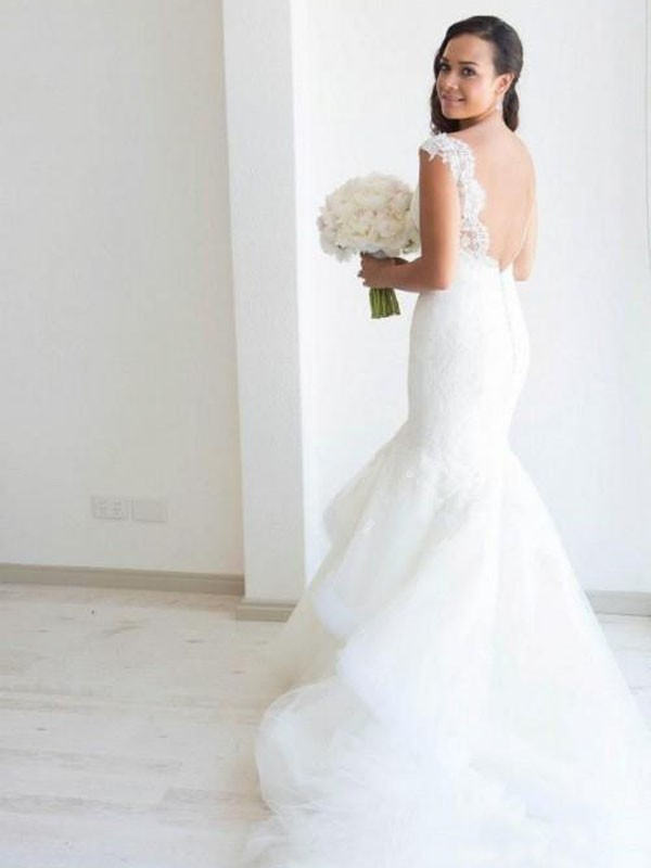 Mermaid Sleeveless Organza Straps Chapel Train Wedding Dresses