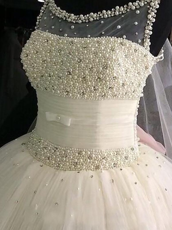 Ball Gown Scoop Beading Tulle Sleeveless Floor-Length Wedding Dresses