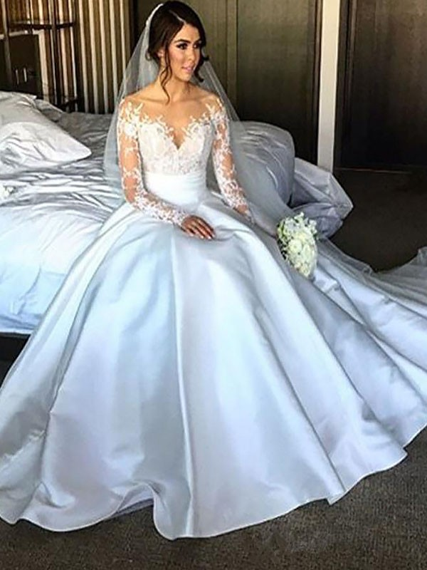 Ball Gown Long Sleeves Satin Court Train Wedding Dresses
