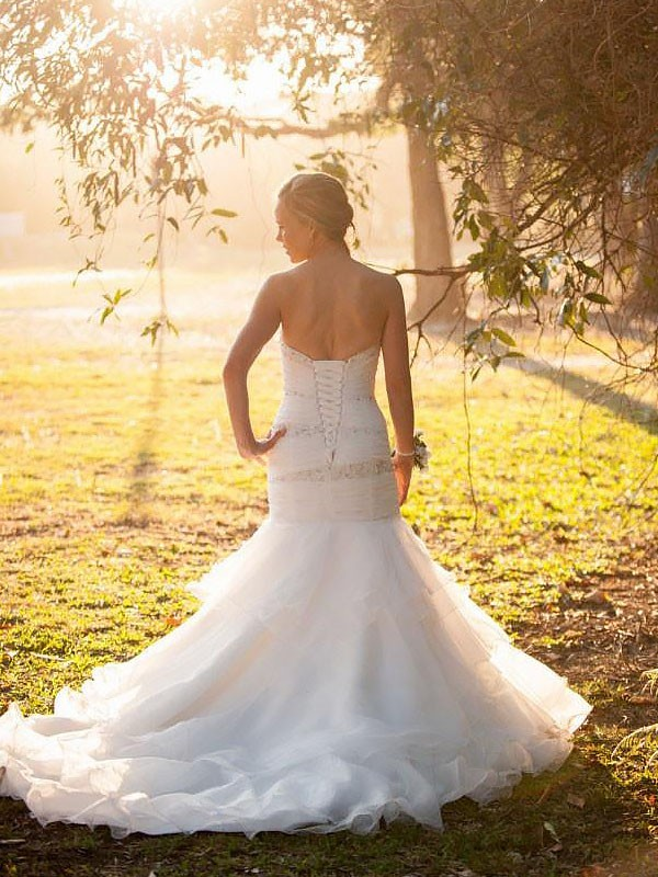 Mermaid Sweetheart Sleeveless Court Train Tulle Wedding Dresses
