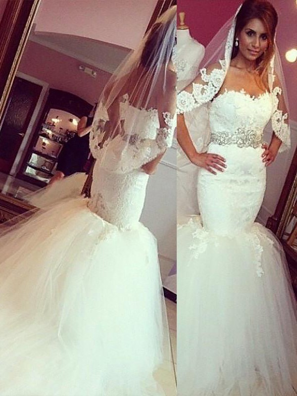 Mermaid Lace Tulle Sweetheart Sleeveless Court Train Wedding Dresses