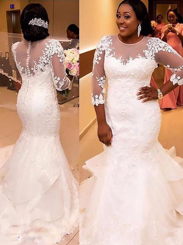 Mermaid Tulle 3/4 Sleeves Applique Lace Court Train Wedding Dresses