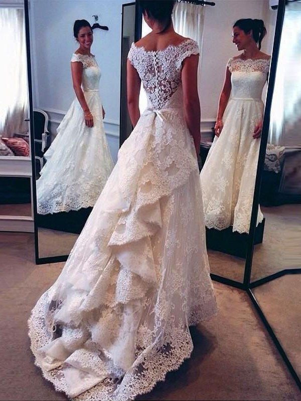 A-Line Scoop Lace Sweep/Brush Train Sleeveless Wedding Dresses