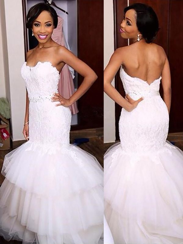 Mermaid Sweetheart Lace Sleeveless Court Train Tulle Wedding Dresses