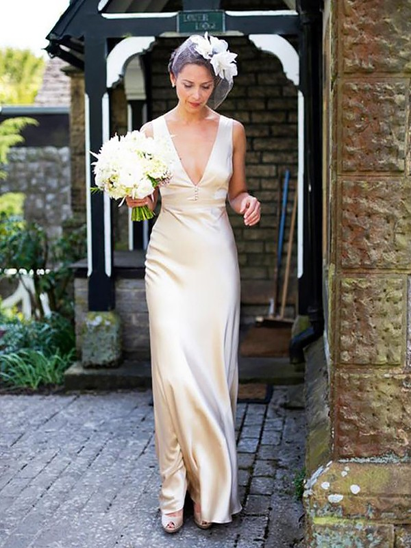 Sheath Satin Sleeveless V-neck Floor-Length Wedding Dresses