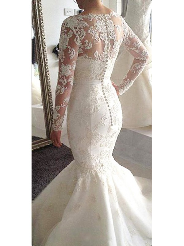 A-Line Bateau Long Sleeves Tulle Court Train Applique Wedding Dresses