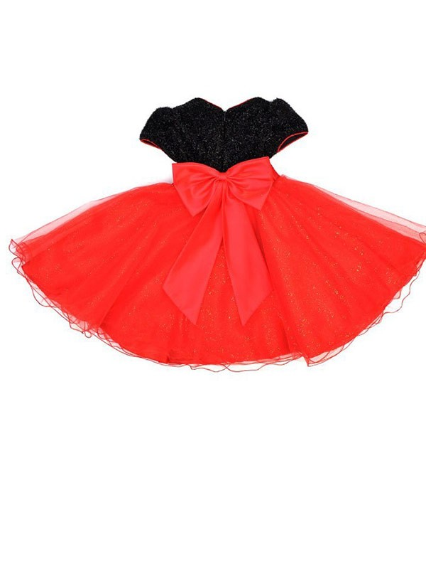 A-line Scoop Short Sleeves Bowknot Tea-length Organza Flower Girl Dress