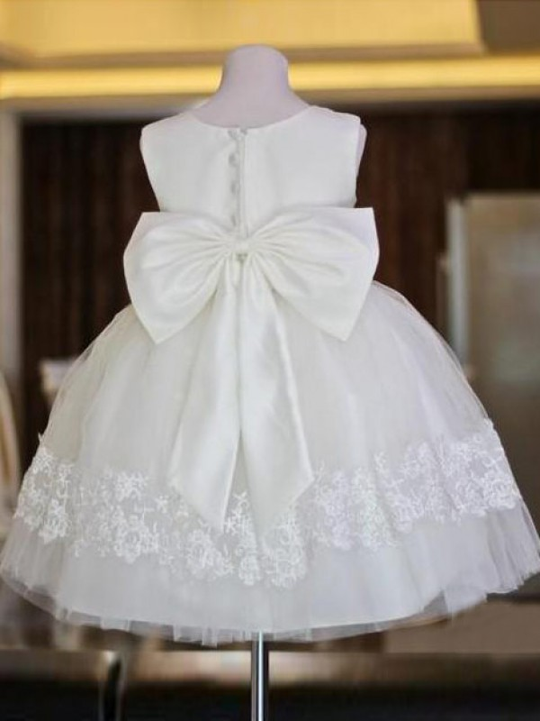 A-line Scoop Lace Sleeveless Floor-length Organza Flower Girl Dress
