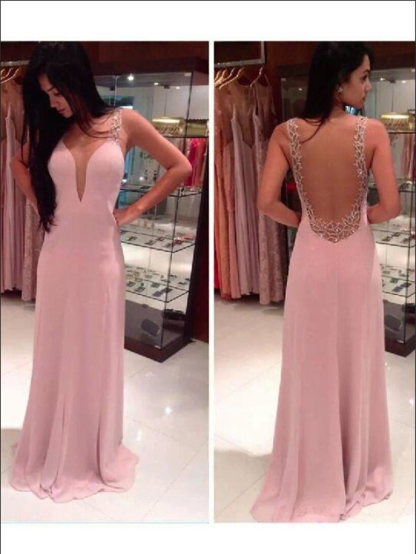 A-line/Princess Straps Sleeveless Beading Floor-length Chiffon Dresses