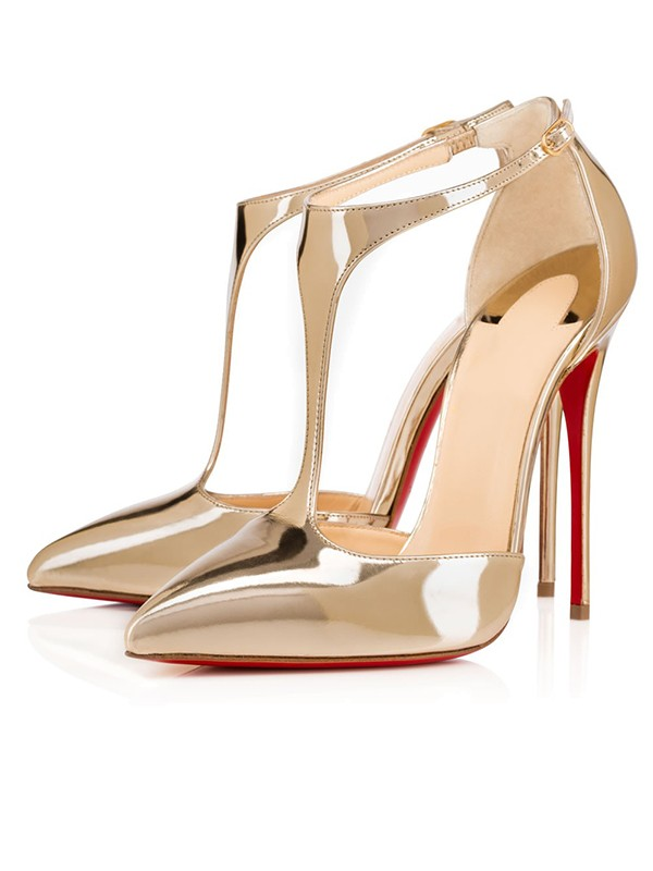 Women's Patent Leather Closed Toe Stiletto Heel Gold Sandals Shoes