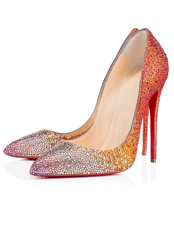Women's Sparkling Glitter Peep Toe with Rhinestone Stiletto Heel High Heels