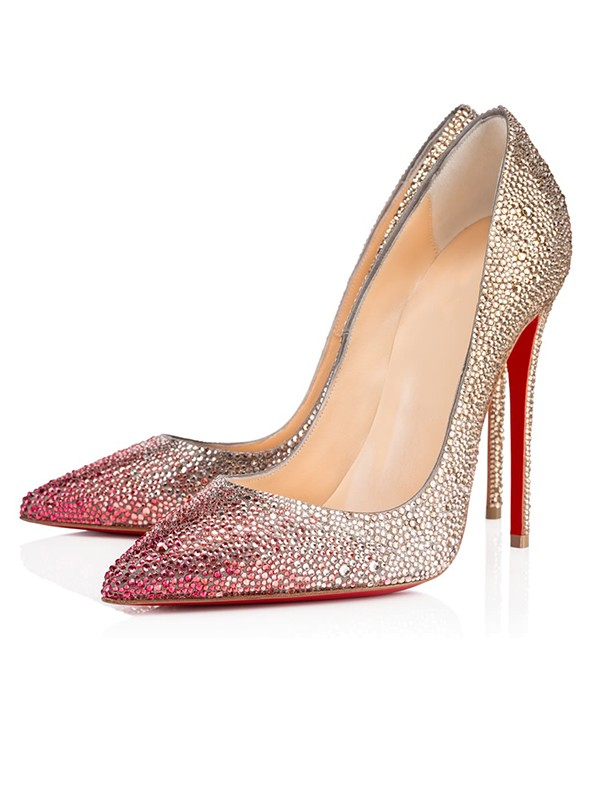 Women's Sparkling Glitter Closed Toe with Rhinestone Stiletto Heel High Heels