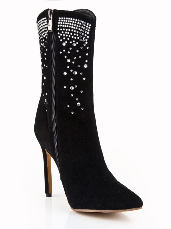 Women's Suede Stiletto Heel Closed Toe With Rhinestone Mid-Calf Black Boots