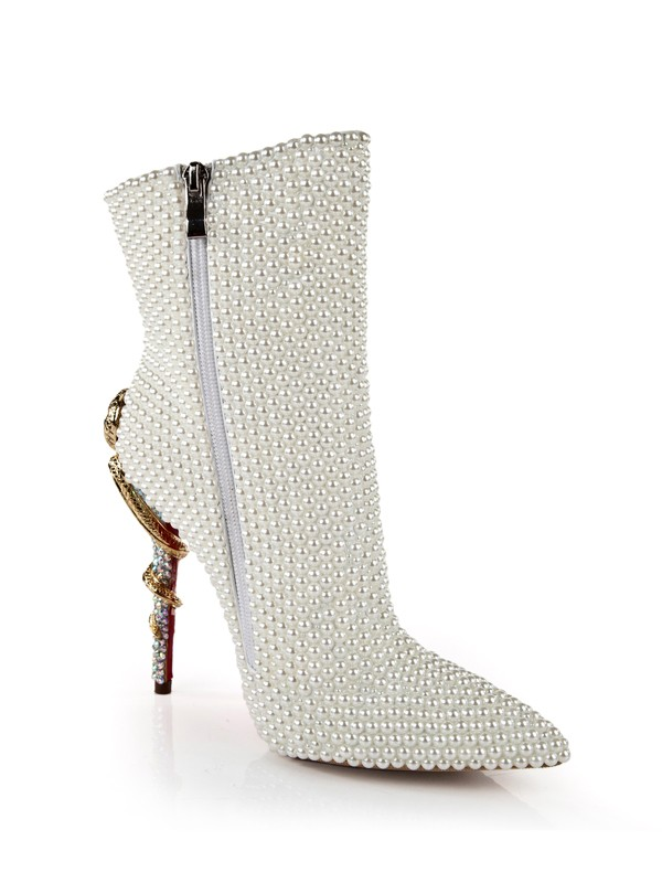 Women's Patent Leather Stiletto Heel With Pearl Mid-Calf White Boots