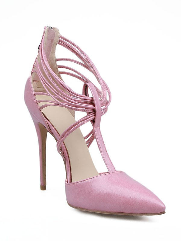 Women's Stiletto Heel Patent Leather Closed Toe With Zipper High Heels