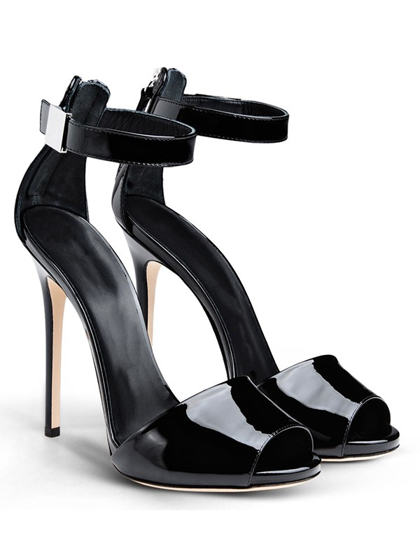 Women's Patent Leather Peep Toe Stiletto Heel With Buckle Sandals Shoes