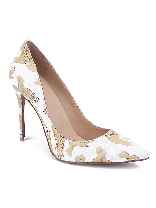 Women's Closed Toe PU Stiletto Heel With Printing High Heels
