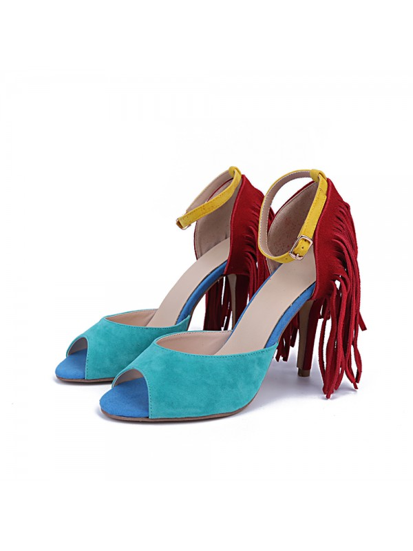 Women's Suede Peep Toe Stiletto Heel With Tassel Sandals Shoes