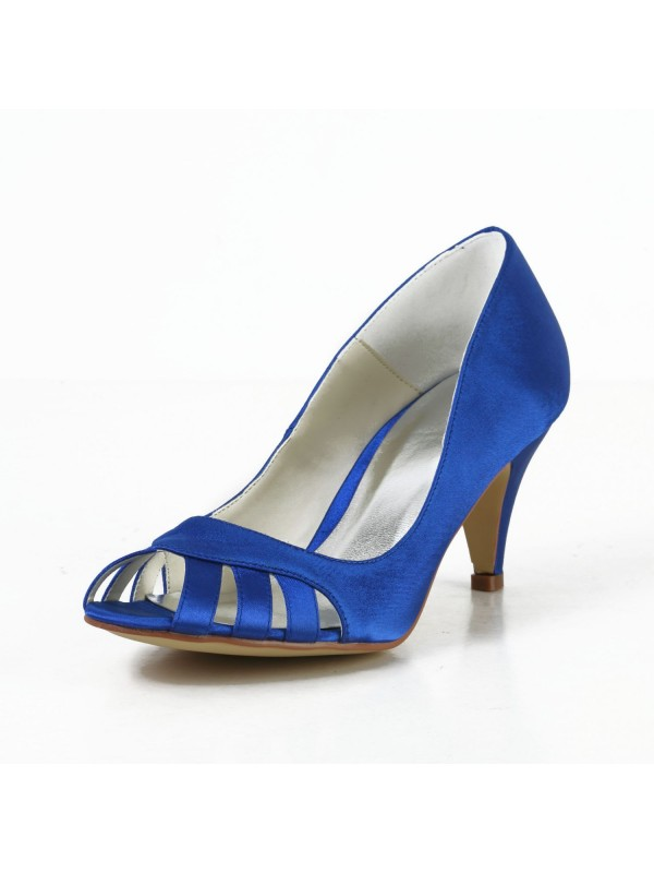 Women's Satin Cone Heel Peep Toe Pumps High Heels With Hollow-out