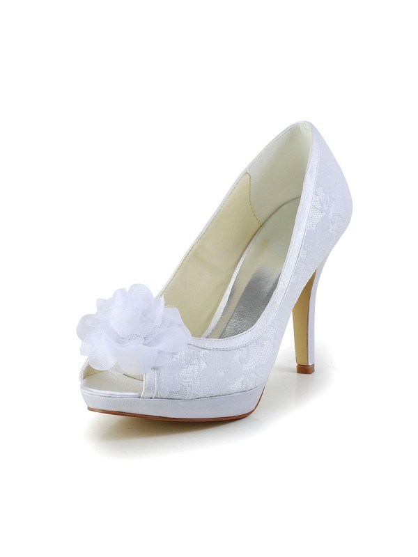 Women's Satin Peep Toe Stiletto Heel White Wedding Shoes With Flower