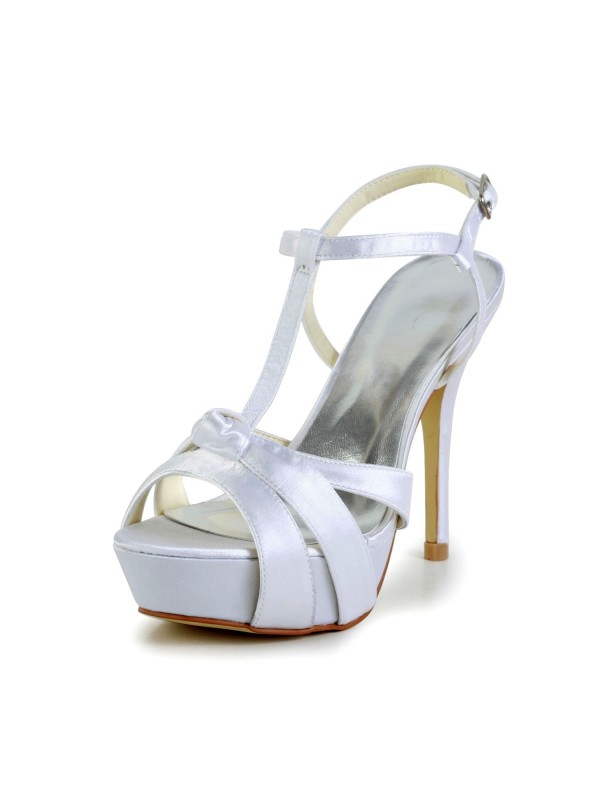 Women's Satin Stiletto Heel Peep Toe Slingbacks Sandal White Wedding Shoes With Buckle