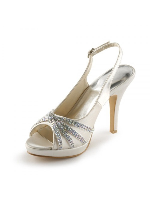 Women's Satin Stiletto Heel Peep Toe Platform With Rhinestone Champagne Wedding Shoes